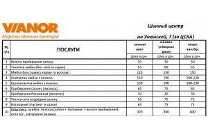 Прайс-лист на услуги мойки на январь 2019 (Киев, Уманская 7, за ЦСКА)