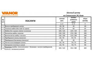 Прайс-лист на услуги мойки на январь 2019 (Киев, Стальского 34)